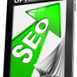 Seo Tablet PC Green Arrow — Stock Photo #16508027