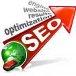 Stock Photo: SEO positive red arrow