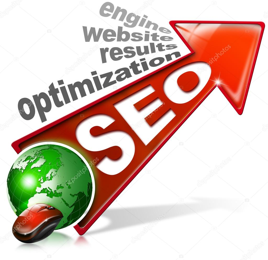 Written SEO with red arrow and globe, mouse and written: optimization, results, website, engine  Stock Photo #16508099