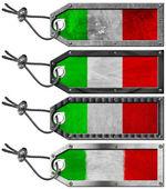 Italia banderas conjunto de etiquetas metal grunge — Foto de Stock