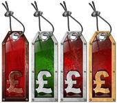 Pound Price - Grunge Tags - 4 items — Stock Photo