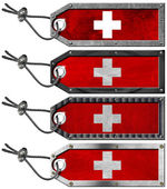 Switzerland Flags Set of Grunge Metal Tags — 图库照片