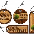 100% Natural - Wooden Tags - 4 items — Stock Photo