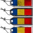 Romania Flags Set of Grunge Metal Tags — Stock Photo