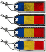 Romania Flags Set of Grunge Metal Tags — Stock fotografie