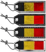 Belgium Flags Set of Grunge Metal Tags — Stok fotoğraf