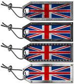 UK Flags Set of Grunge Metal Tags — Stok fotoğraf