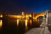 Castelvecchio by Night (1357) - Verona Italy — Stock Photo