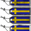 Sweden Flags Set of Grunge Metal Tags - Stok fotoraf