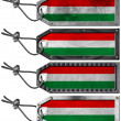 Hungary Flags Set of Grunge Metal Tags - 