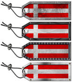 Denmark Flags Set of Grunge Metal Tags — 图库照片