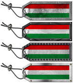 Hungary Flags Set of Grunge Metal Tags — Stock Photo