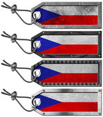 Czech Republic Flags Set of Grunge Metal Tags — ストック写真