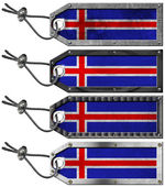 Iceland Flags Set of Grunge Metal Tags — 图库照片