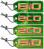 Bio Eco Green Tags - 4 items — Foto de Stock