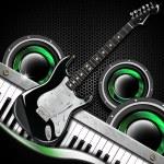 Black Guitar Hexagons Background — Stock Photo