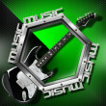 Black Guitar Hexagon Music Background — Stock Photo