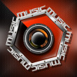 Red Woofer Music Hexagon Background - Stock fotografie