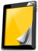 Computador tablet com páginas amarelas — Foto Stock