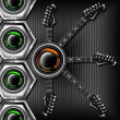 Woofer and Guitar Hexagons Background — Stock Photo