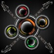 Woofer and Guitar Hexagons Background - Stockfoto