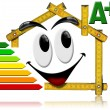 Stock Photo: Energy Saving - House Smiling Meter Tool