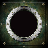 Ojo de buey metal grunge verde oscuro — Foto de Stock