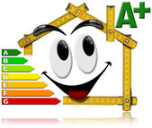 Energy Saving - House Smiling Meter Tool — Stock Photo