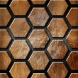 Brown Grunge Background with Hexagons - Zdjęcie stockowe