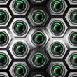Metal Background with Hexagons and Woofers — Stockfoto