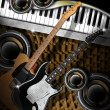 Stock Photo: Guitars Woofers and Piano