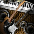 Guitars Woofers and Piano — Stock Photo