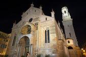Verona Cathedral at Night- Veneto Italy — 图库照片