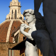 David by Michelangelo and Dome of The Cathedral - Florence Italy — Zdjęcie stockowe