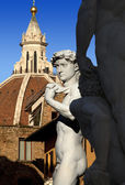 David by Michelangelo and Dome of The Cathedral - Florence Italy — Stock Photo