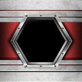 Red and Metal Background with Hexagon — Stock Photo