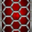 Hexagons Grunge Red and Metal Background — Foto de Stock