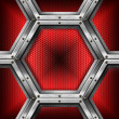 Red and Metal Background with Hexagons — Стоковая фотография