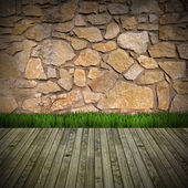 Interior Room with Stone Wall — Stock Photo