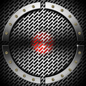 Red and Metal Background with Grid and Circle — Stock Photo