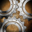 Stock Photo: Metal Gears on Grunge Background