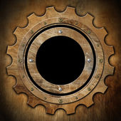Gear - Brown Rusty Metal Porthole — Stock Photo