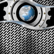 Stock Photo: Metal Background with Grid, Gear and Globe
