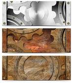 Set of Metallic Headers Grunge Gears — Stock Photo