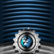 Blue and Metal Industrial Gears Background — Стоковая фотография