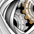 Brown, Gray and Metal Industrial Gears Background — Foto de Stock