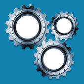 Blue and Metal Industrial Gears Background — Stock Photo