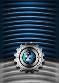 Pozadí modré a kovové průmyslové převodovky — Stock fotografie