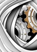 Brązowy, szary i metali przemysłowych przekładni tło — Zdjęcie stockowe