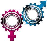 Símbolos masculinos e femininos - engrenagens de metal — Foto Stock